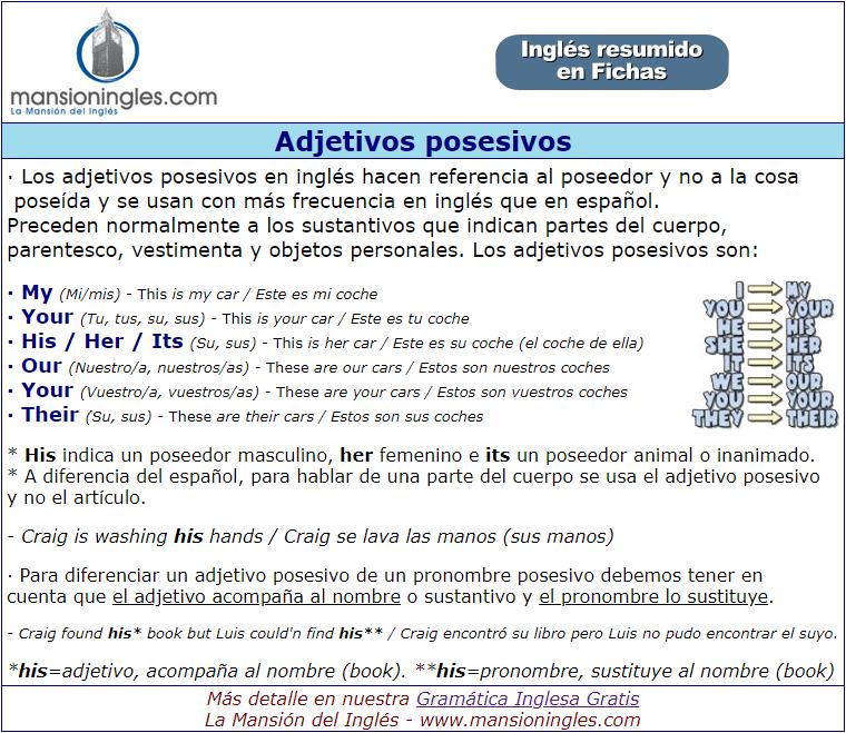 Adjetivos Posesivos En Inglés Ficha Resumen